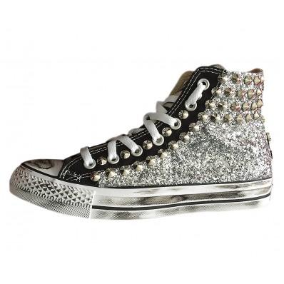 converse argento glitter