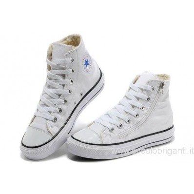 converse donna alte bianche in pelle