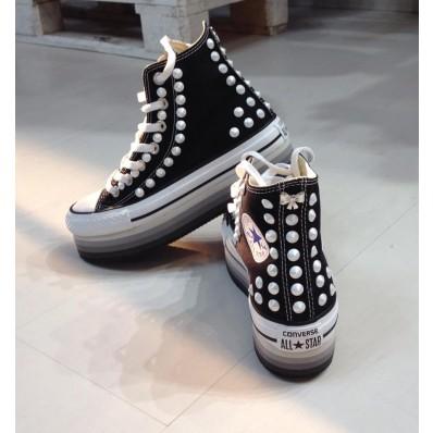 converse platform nere glitter