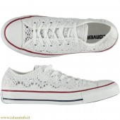 converse donna bianche basse pizzo